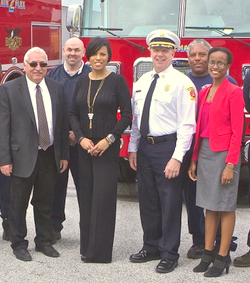 Former Fleet Manager Robert Gibson (left) with Mayor Stephanie Rawlings-Blake and Deputy Division Director Chichi Nyagah-Nash in 2016. (Department of General Services)