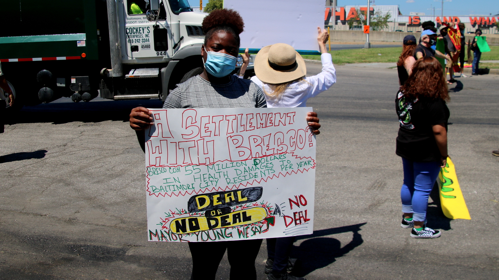 Demonstrators target the BRESCO trash-to-energy plant, Baltimore's biggest source of industrial pollution. (Louis Krauss)
