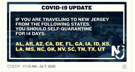 Announcement by New Jersey's governor about travel restrictions. (twitter)