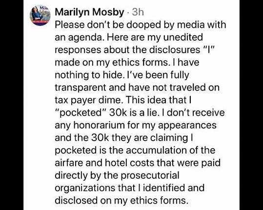 Comments last Saturday by Marilyn Mosby on the Baltimore Crime and Homicide Facebook page.