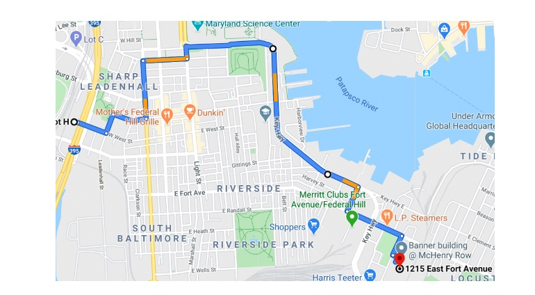 The panned route for today's march, which will start at Camden Yards (at far left) and end at McHenry Row. (demandsafeschools.org)