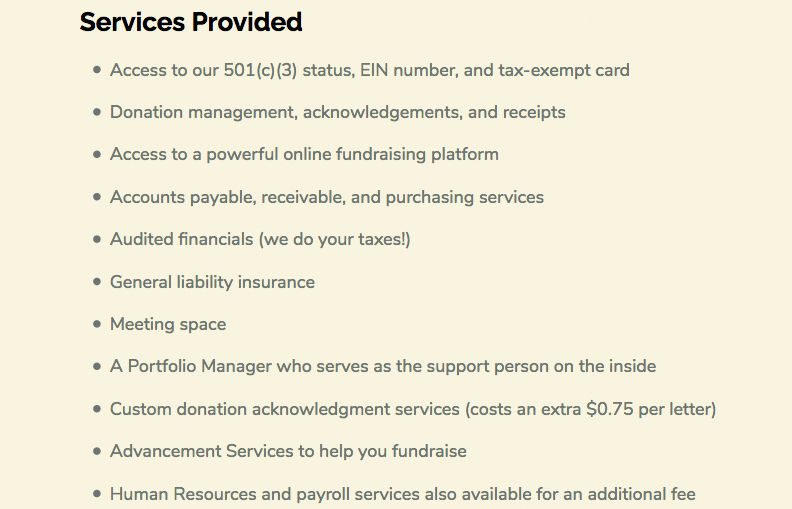 Here are some of the seervices Strong City says it provides to its fiscal sponsors. For these services, it take a 10% cut of the highest amount in the client's account for the year. (strongcitybaltimore.org)