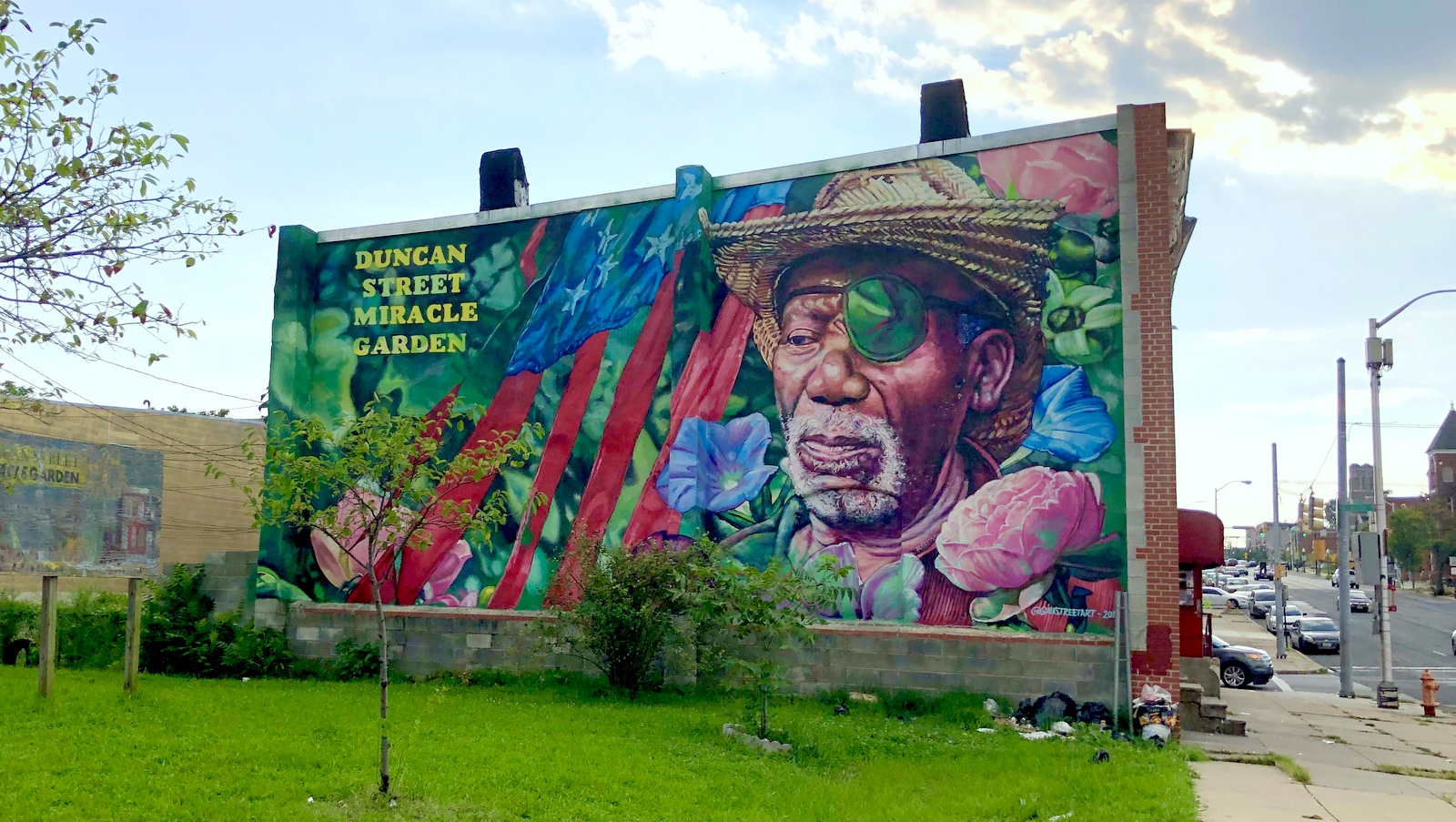 Mural pays tribute to the Duncan Street Miracle Garden's longtime steward, Lewis Sharpe. (Ian Round)