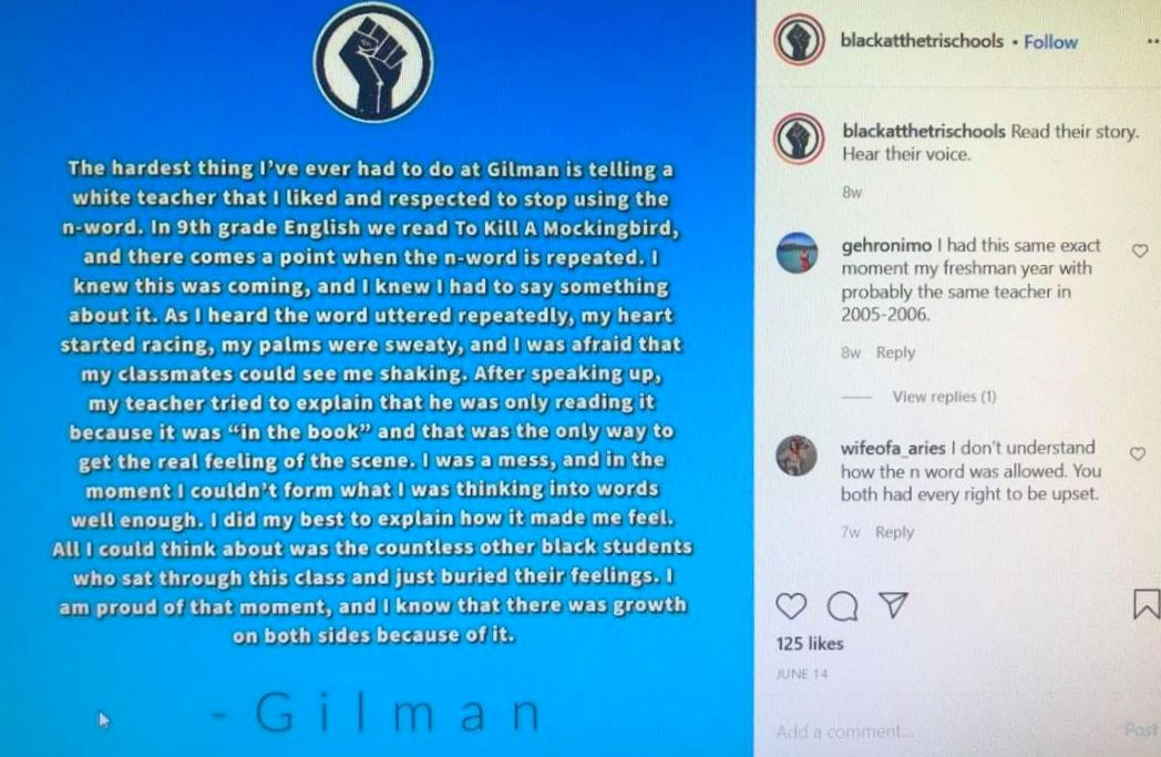 A Black student's experience at the Gilman School in Baltimore, posted on the Instagram page Being Black at the Tri Schools.