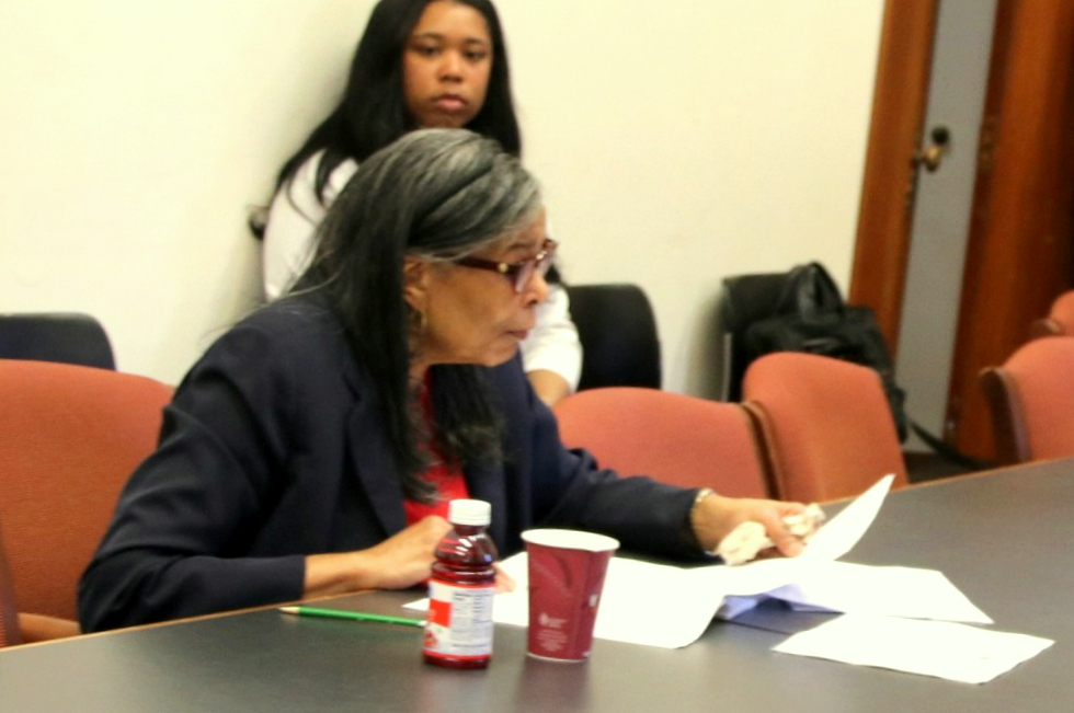 Harriette Taylor at a Board of Estimates pre-meeting last March shortly before he retired after 24 years at City Hall. (Fern Shen)