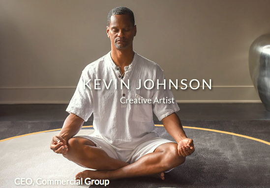 Photo of Commercial Group's CEO sitting in meditative pose. (commercial-group.com)
