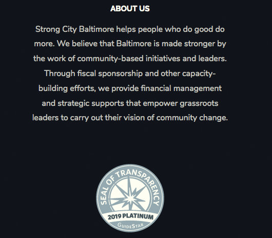 Mission statement on Strong City Baltimore's website.
