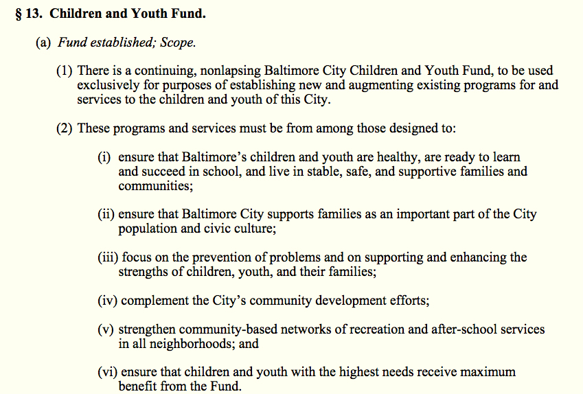 City law specifies what the money in the Children & Youth Fund is to be used for. (Baltimore City Charter, Article 1, Section 13)