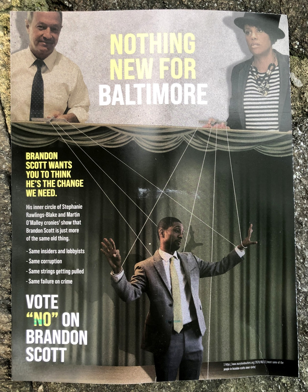 Wallace mailers sent to voters last week that cast Brandon Scott as a puppet of Stephanie Rawlings and Martin O'Malley.