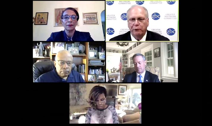 Four former Baltimore mayors – clockwise: Sheila Dixon, Martin O'Malley, Stephanie Rawlings-Blake and Kurt Schmoke - warn against changing city governance in virtual meeting last month with Greater Baltimore Committee CEO Don Fry (upper right).
