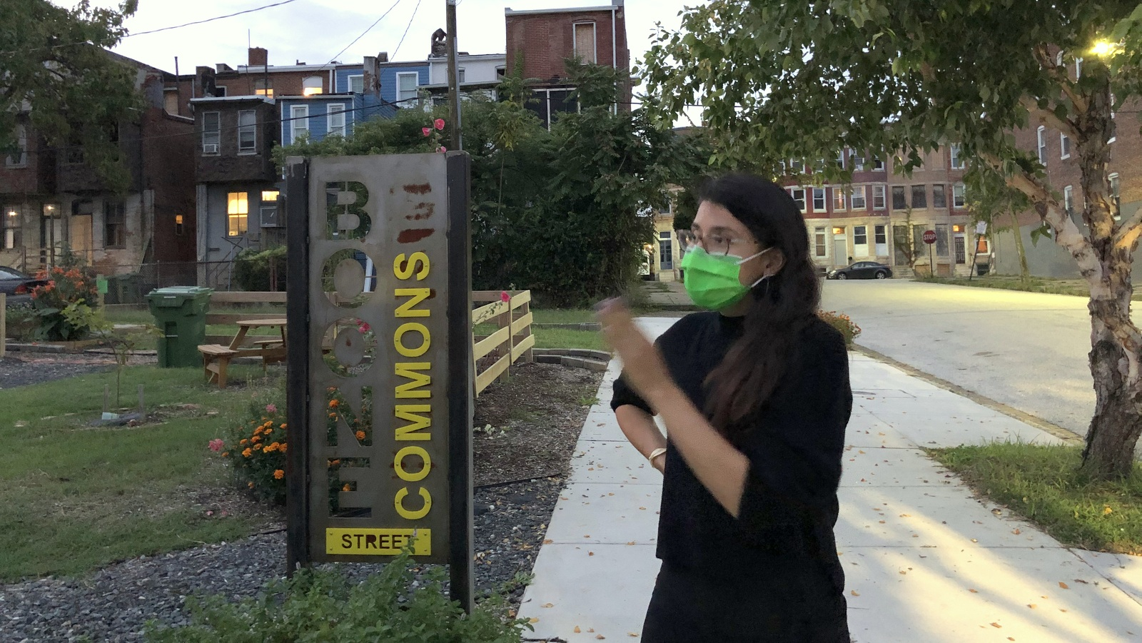 Candidate Franca Muller Paz at Boone Street Commons in East Baltimore. (Ian Round)