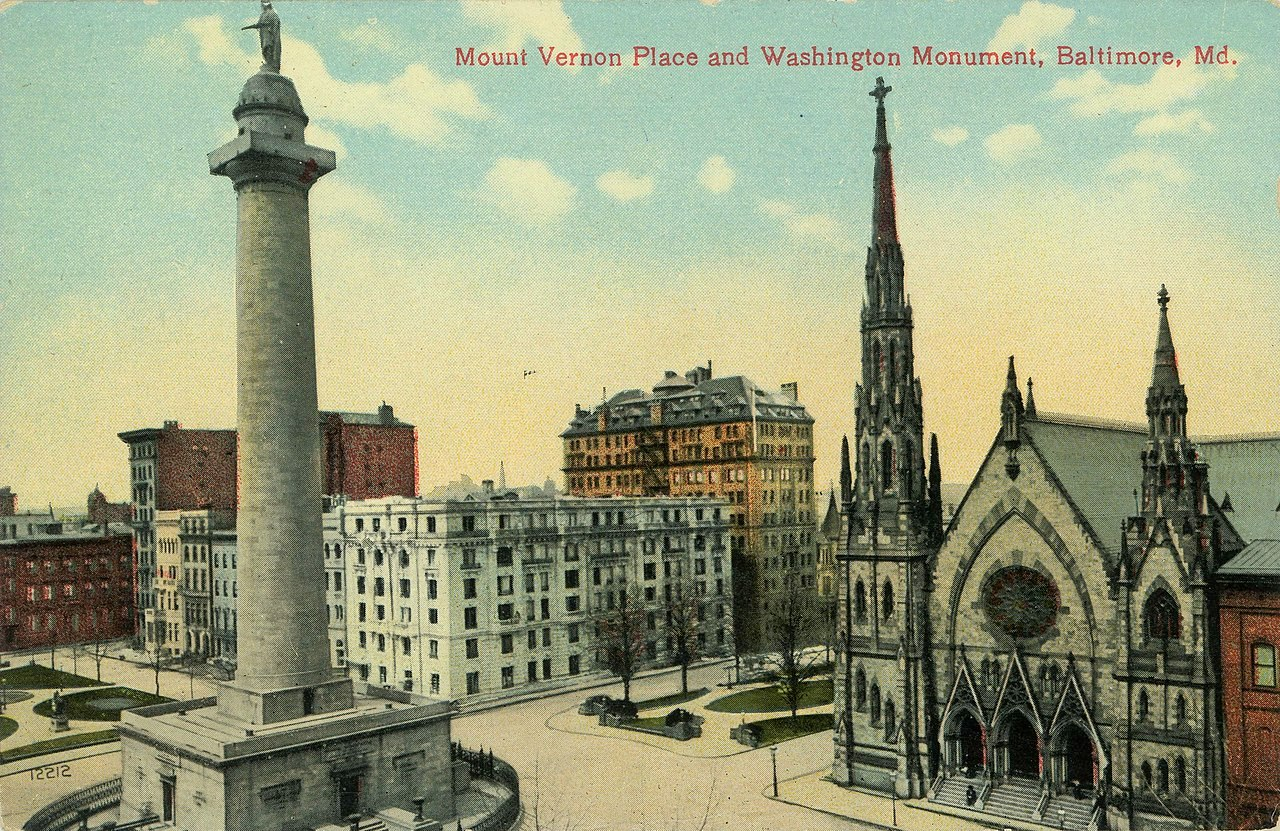 Vintage post card (1907-1914) shows United Methodist Church beside the Washington Monument, on Baltimore's Mount Vernon Place. (National Trust Library Historic Postcard Collection, Special Collections, University of Maryland Libraries)