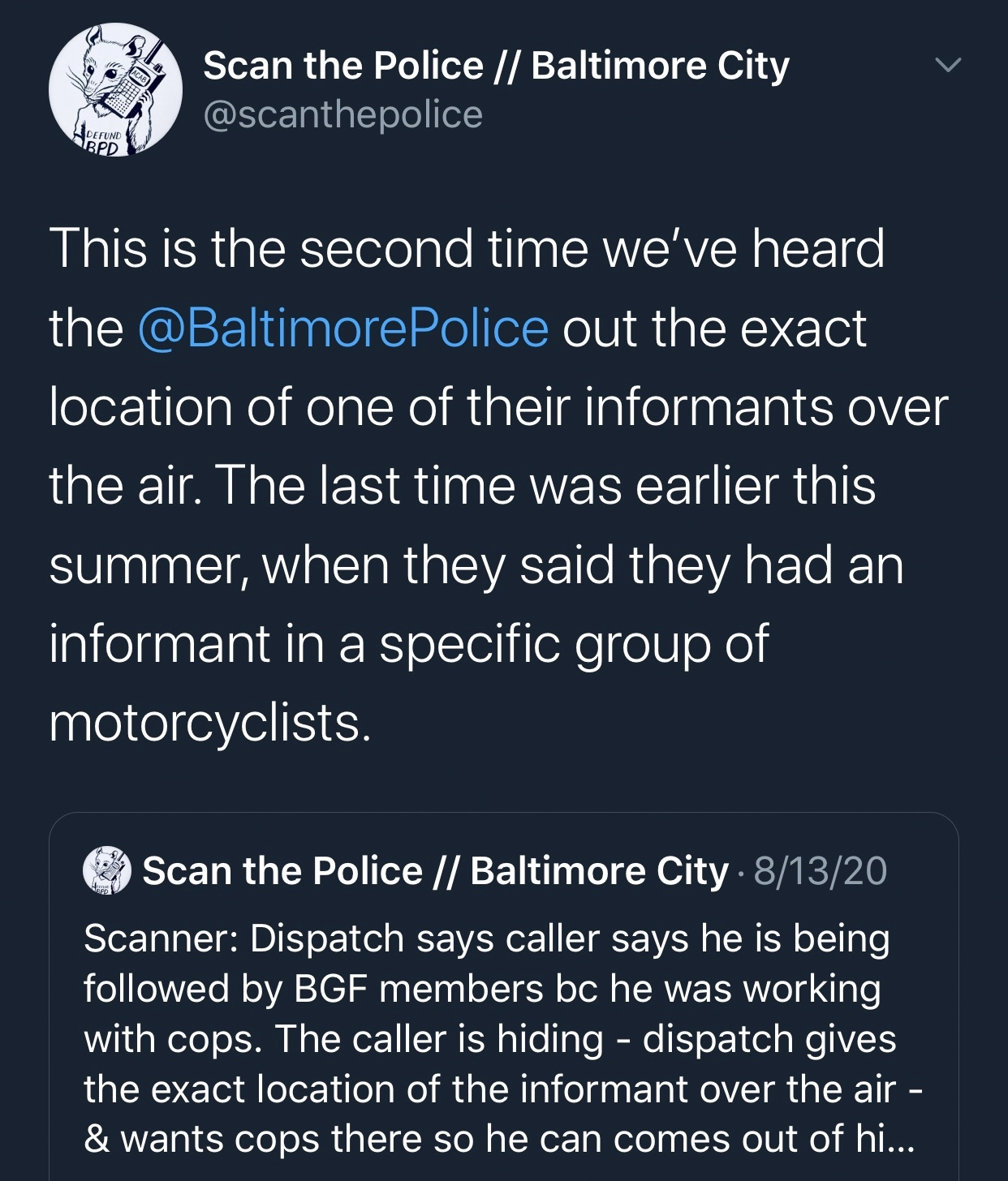scan the police twitter