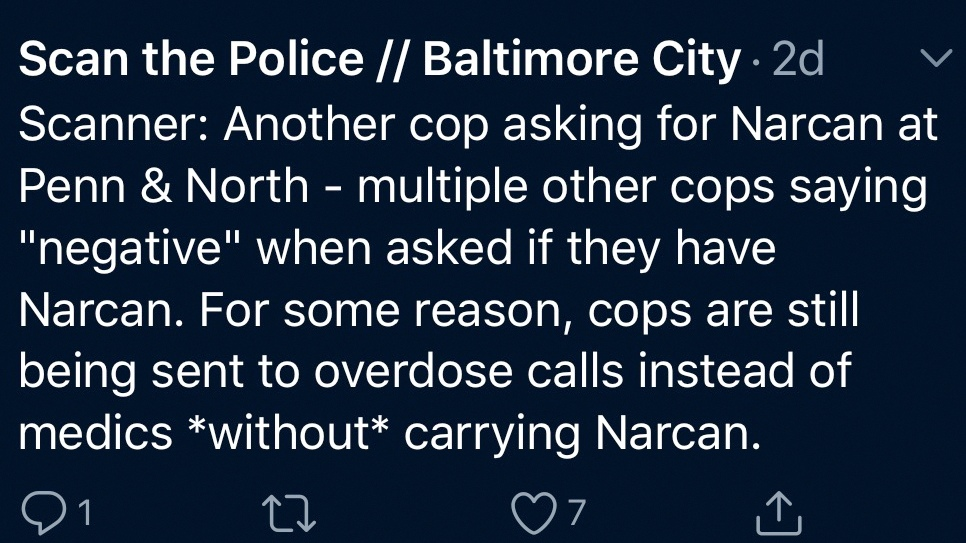 One theme the Scan the Police volunteers have identified: Baltimore police unequipped to respond to overdoses. (@scanthepolice)