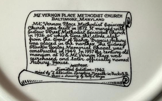 Back of the 1962 commemorate plate briefly describing the church's history. (Norman Bosley)