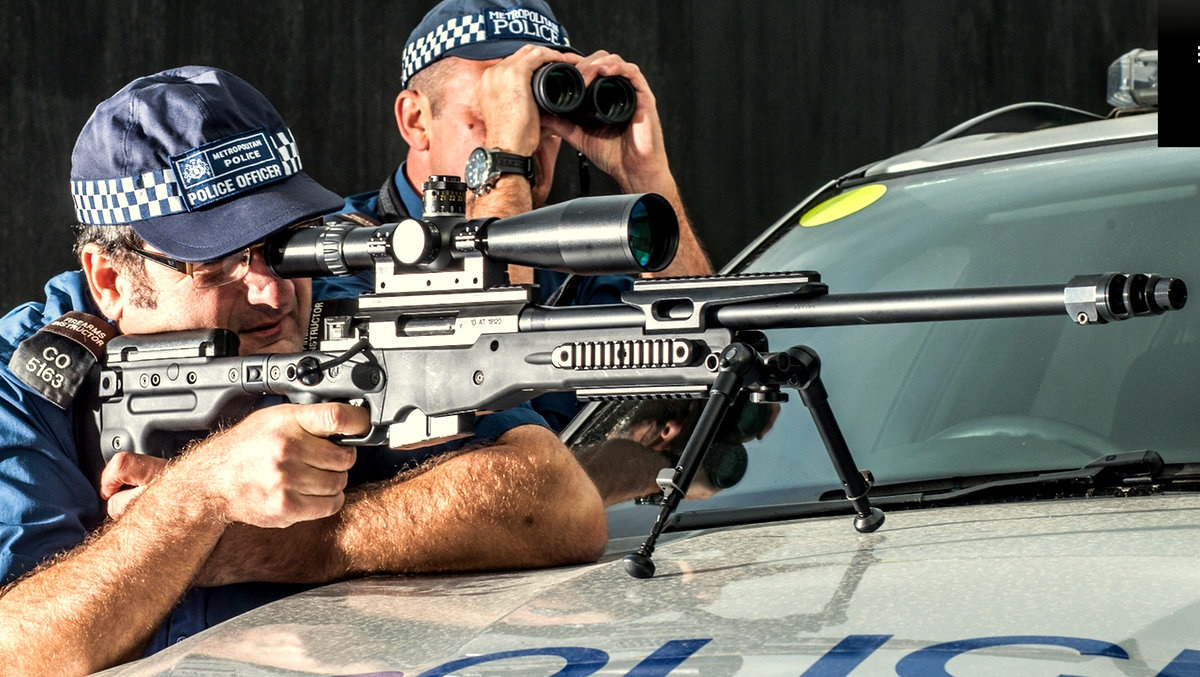 Mock demonstration of the AT308 sniper rifle deployed by police by the gun's British manufacturer, Accuracy International (accuracyinternational.com)