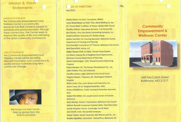 A long and impressive list of directors for an organization that in 2015 had practically no income or program activities. (Bethel Outreach Center pamphlet)