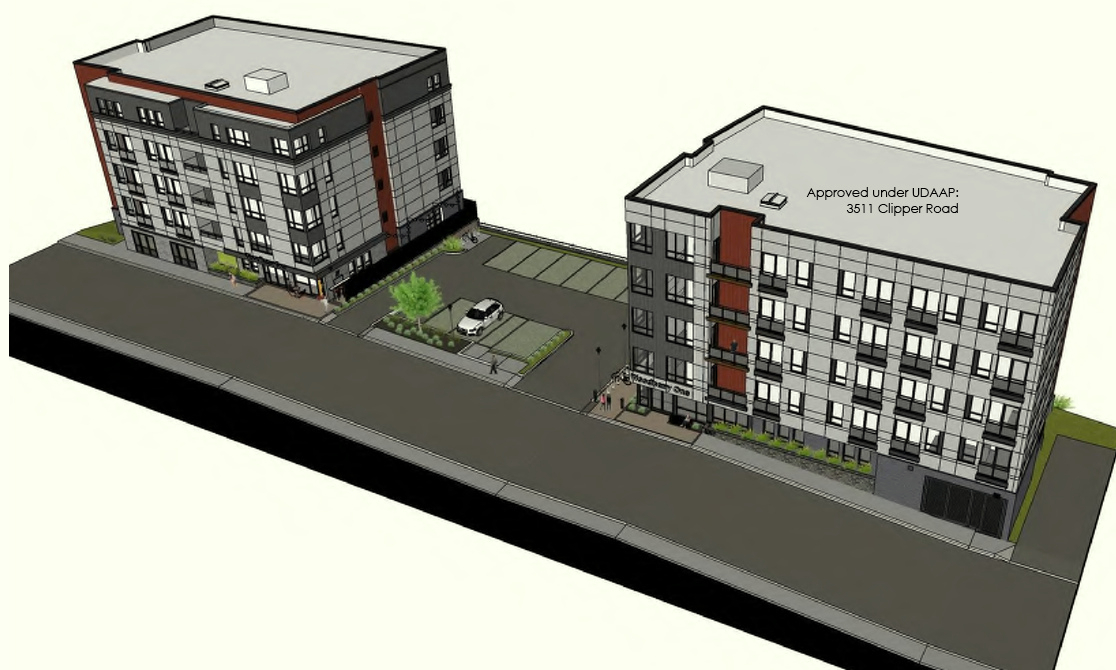 The 3535 Clipper Mill apartment building (at left) would be a close match to the building on the site of the millworker houses. BELOW: the relative scale of the proposed building to nearby buildings. (CHAP Design Review)