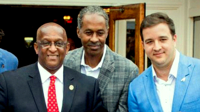 Councilman Robert Stokes (center) with close ally Mayor Jack Young with Alex Smith (right) at the riubbon-cutting for his Choptank restaurant. (baltimoresnap)