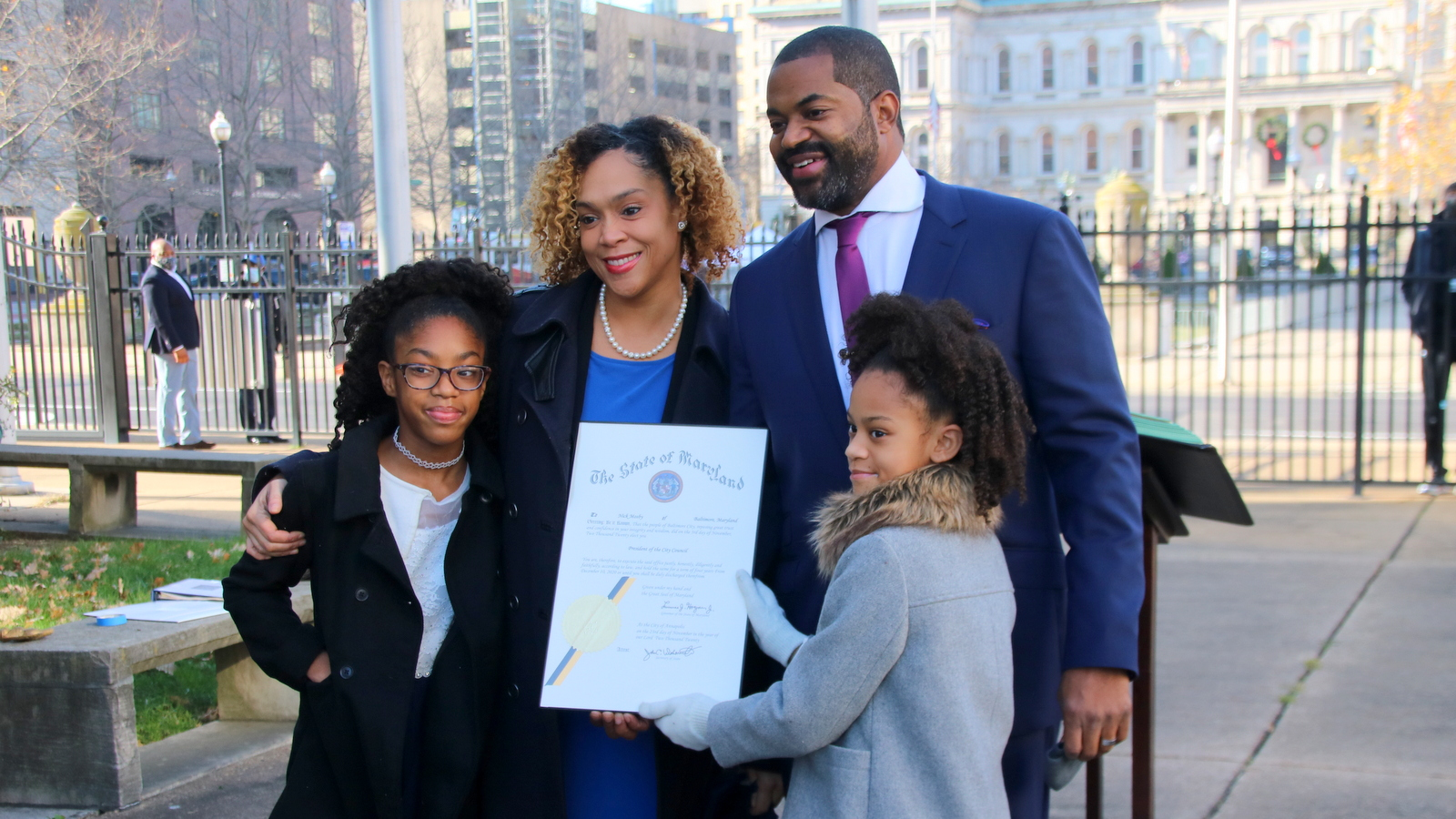 State's Attorney Marilyn Mosby and City Council President Nick Mosby pose with their daughters. (Fern Shen)