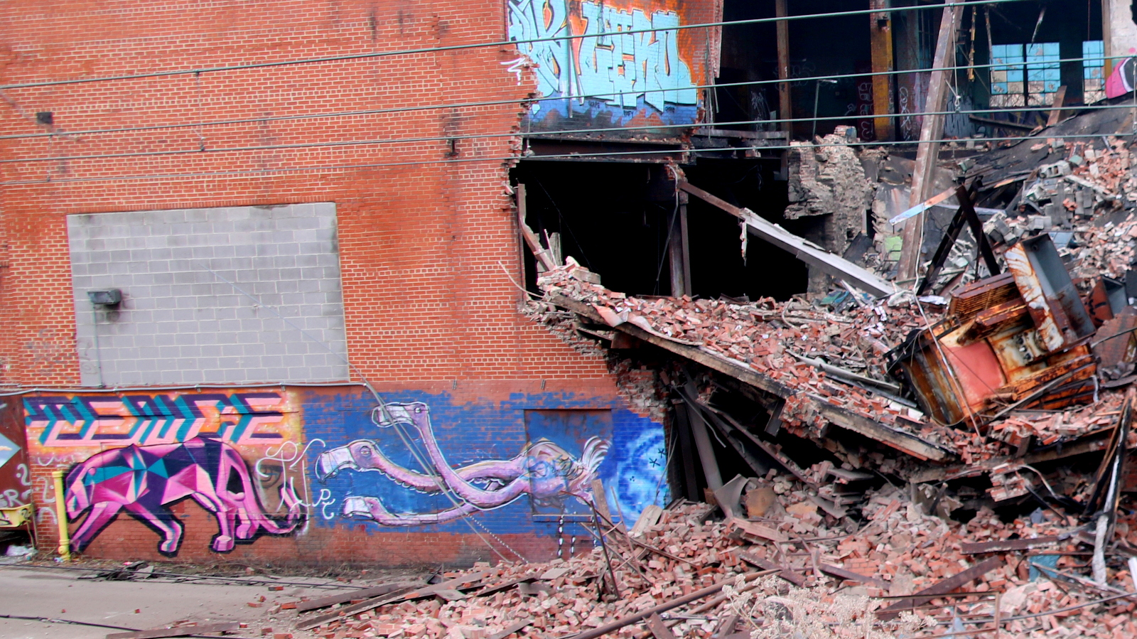 Vacant and unused for decades, the Schenuit building has been a canvas for Baltimore street artists. (Fern Shen)