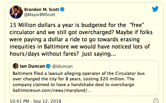Brandon Scott tweets in 2018 about the equity of the free service during the city's dispute with Transdev over alleged overcharges.