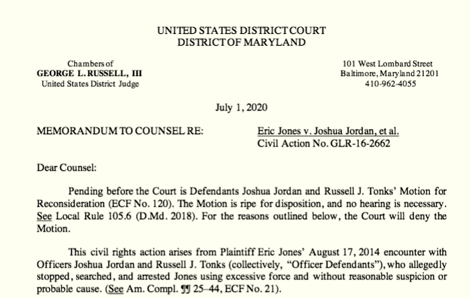 U.S. Judge George Russell denies the city's motion to dismiss Jones' lawsuit against the police department. (Justia Dockets)