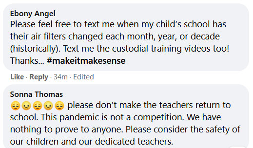 On social media, some parents decry the school system's pan to reopen Baltimore school buildings. (Facebook)