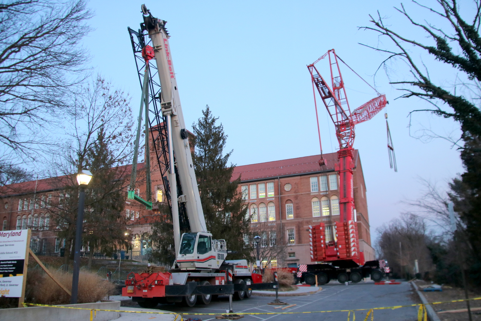 Crane used to place ventilation equipment on the Roland Park Elementary/Middle School roof last week. (Fern Shen)