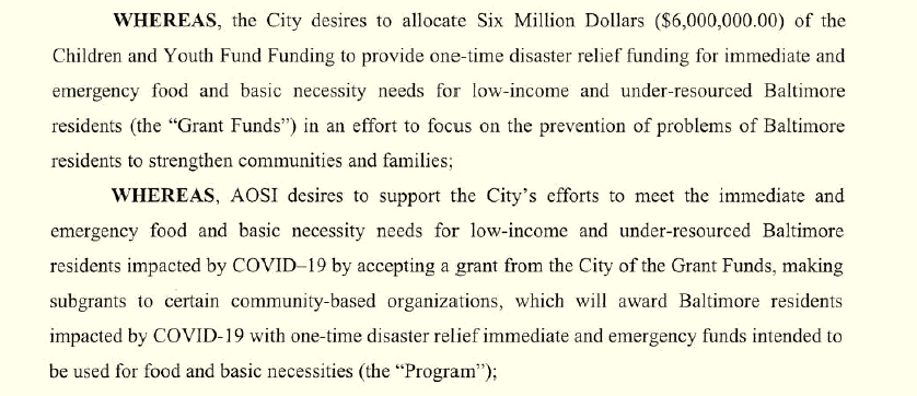 Part of agreement between the city and the Open Society Institute to use Children & Youth Fund money for one-time emergency aid to low-income families.