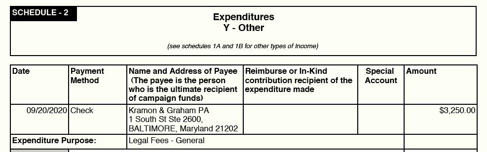 Legal Fees paid to Kramon & Graham $3,250