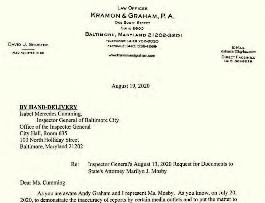 The August 19, 2020 letter officially noting that Kramon & Graham will represent Mosby, BELOW: Payment to Kramon & Graham for unspecified legal fees by Mosby's campaign committee. (OIG Report 21-0008-I and Friends of Marilyn Mosby Annual Finance Report, January 20, 2021)