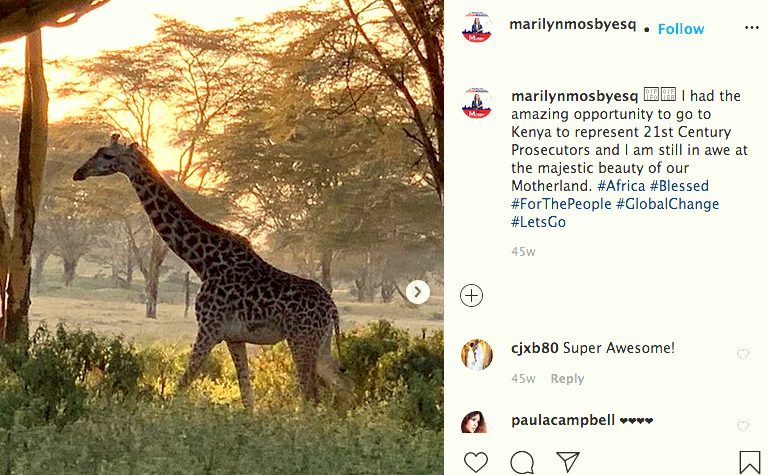 Mosby relates her experiences in Kenya in August 2019 while attending a conference at the Great Rift Valley Resort outside of Nairobi, Kenya. (Instagram)