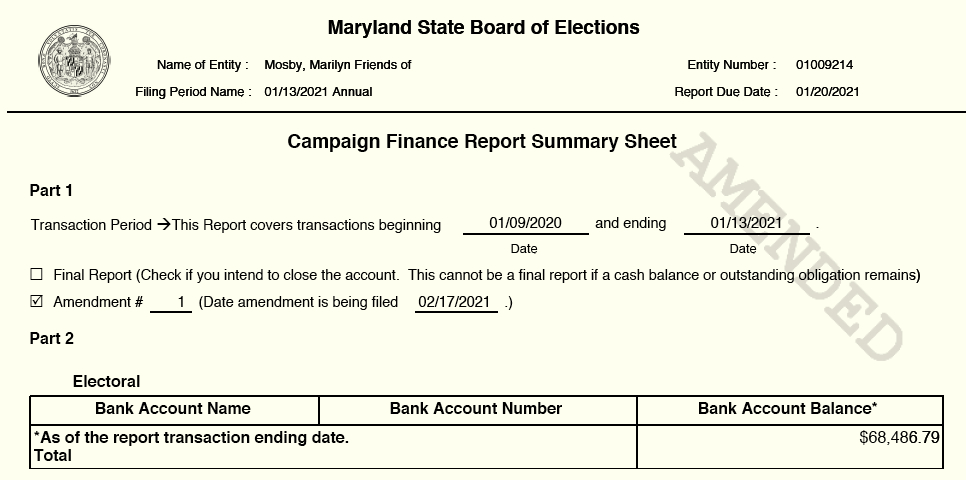 amended Mosby bank account balance