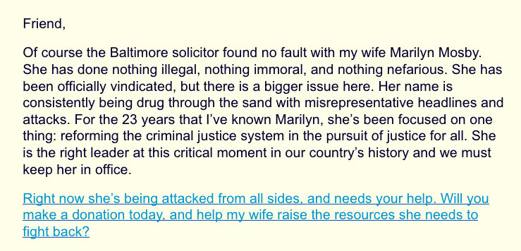 fundraising letter from Nick Mosby for Marilyn Mosby, 2:24:21