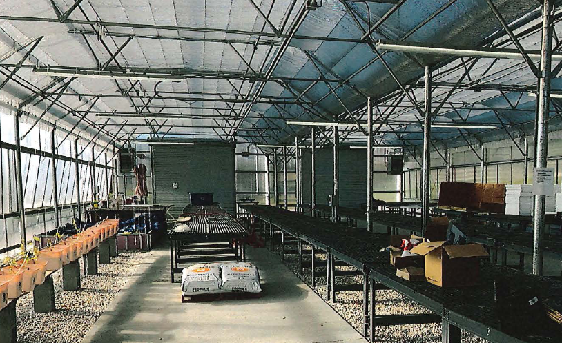 The unused and mostly vacant greenhouse that was built as part of the
