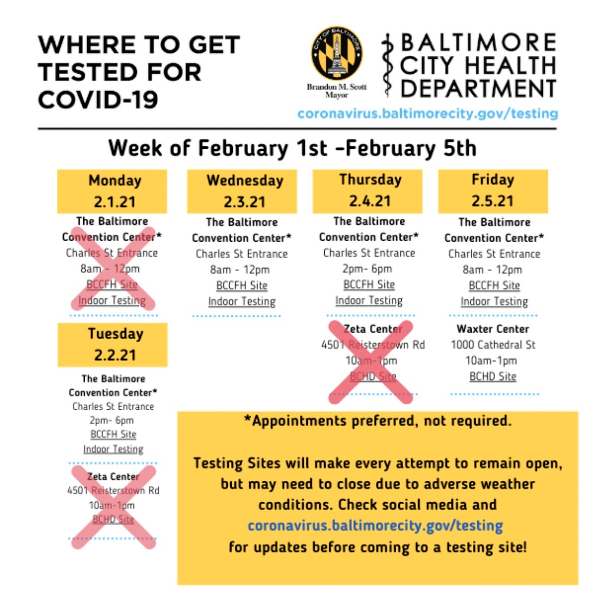 City Health Department web page indicating testing in this Northwest Baltimore location was to be canceled on 2/4/21. (@BMore_Healthy)