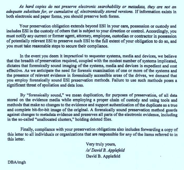 letter from applefeld