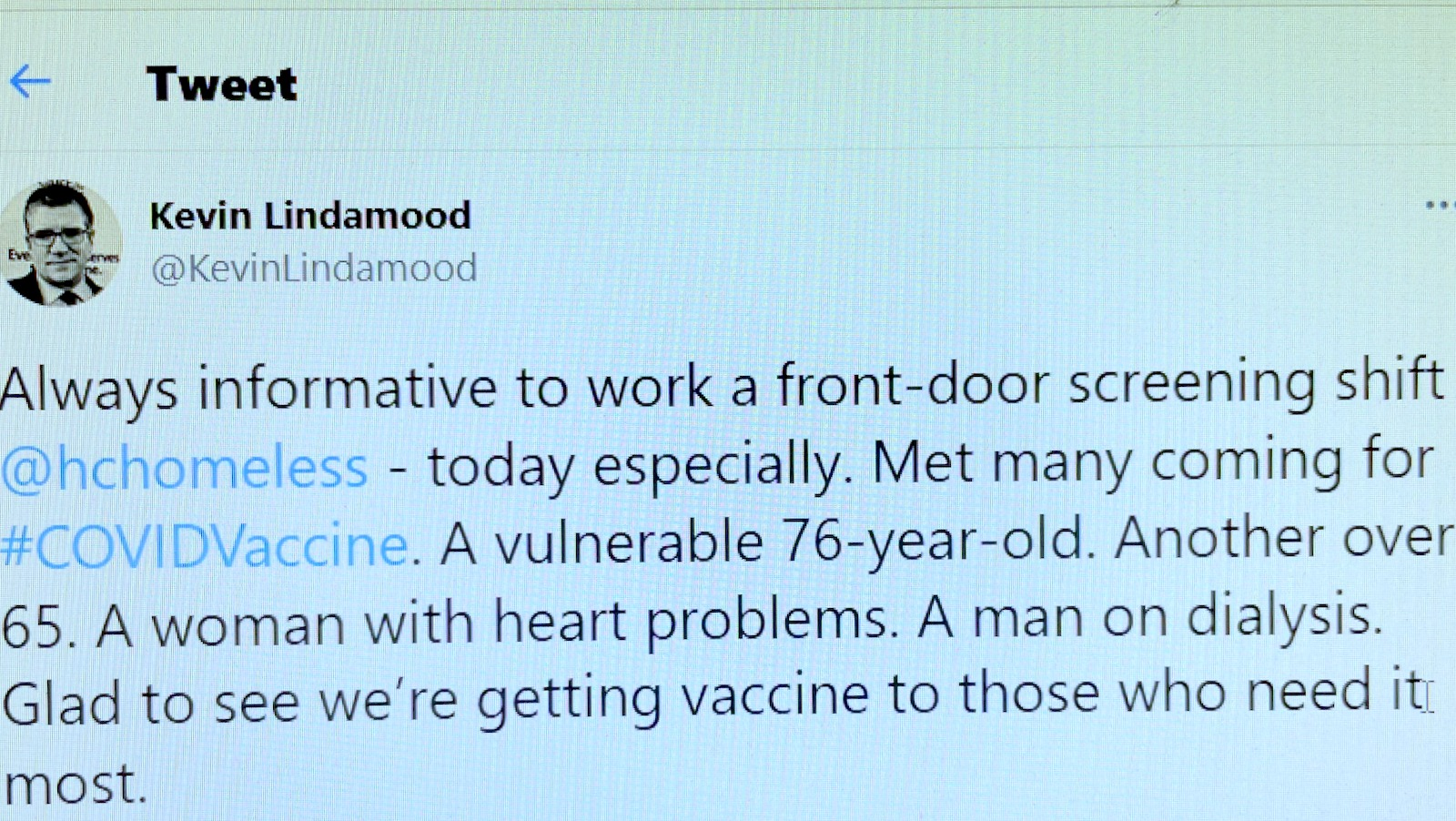 lindamood homeless vaccine