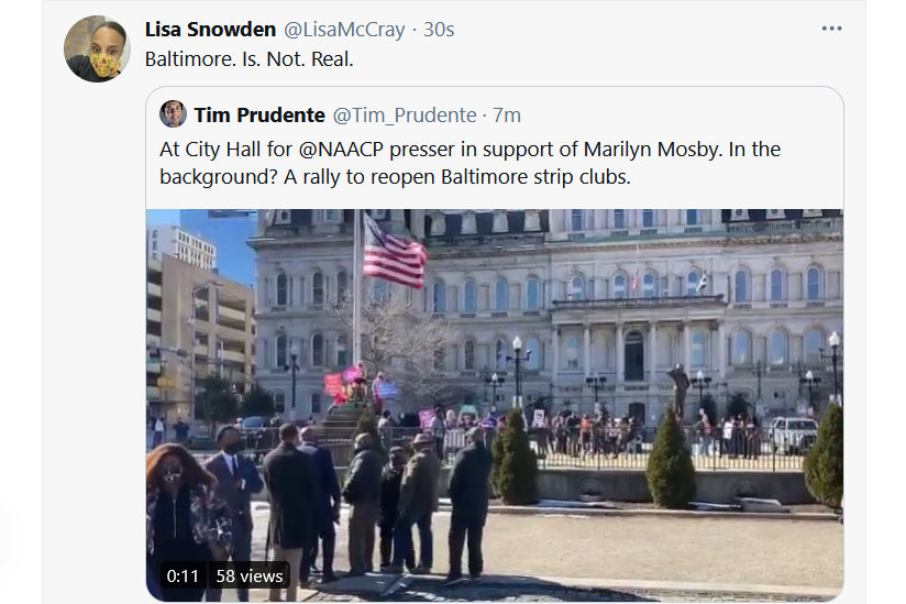 After it coincided with a protest against city Covid policy by Baltimore strippers, the cancellation of a press conference by supporters of State's Attorney Marilyn Mosby caused a stir on Twitter.