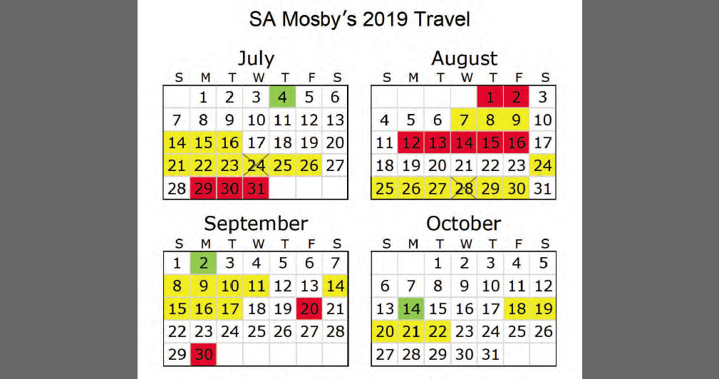 Mosby's travel calendar for July-October 2019. On yellow days, she traveld out of town for a sponsored trip, on red reds she travel out of town on other trips, on yellow X days she traveld from one sponsored trip to another sponsored trip. The green blocks signify court holidays. (Office of the Inspector General)