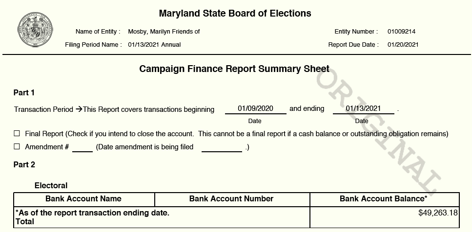 The original cash balance reported at Harbor Bank of Maryland and the amended amount, which reflected the amount reported elsewhere in the campaign report. (State Board of Elections)