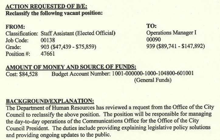 An $84,528 jump in salary and benefits for an upgraded member of Mosby's staff.