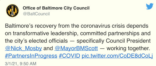 A message tweeted out by Nick Mosby's office on Monday.