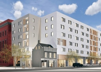 Most recent iteration of plan to incorporate the Martick's restaurant building into a new development. (Vitruvius)