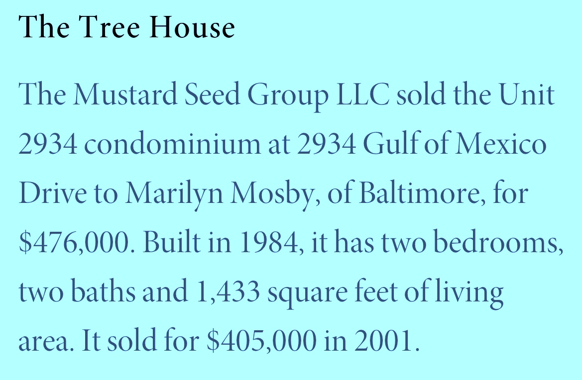 The Longboat Key condo sale to Marilyn Mosby, listed recently by a Florida news website as having transpired in February. (YourObserver.com)