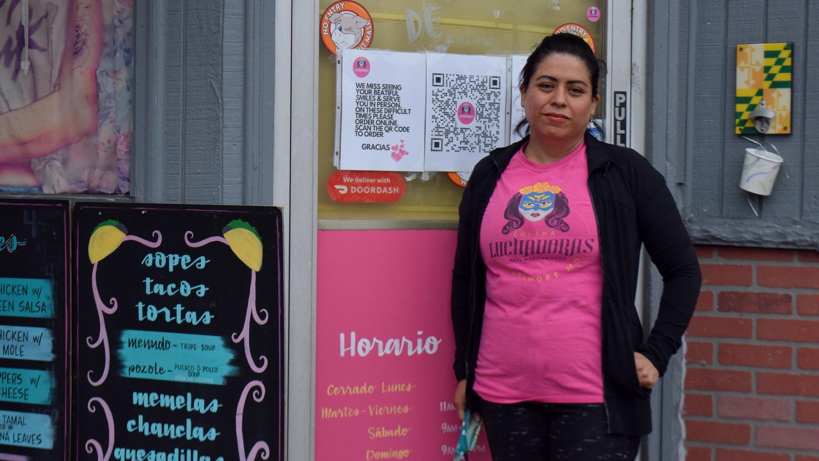Roslyn Vera outside her Oaxacan-Mexican restaurant, Cocina Luchadoras, on Broadway. (Vanessa Gabriela Sanchez)