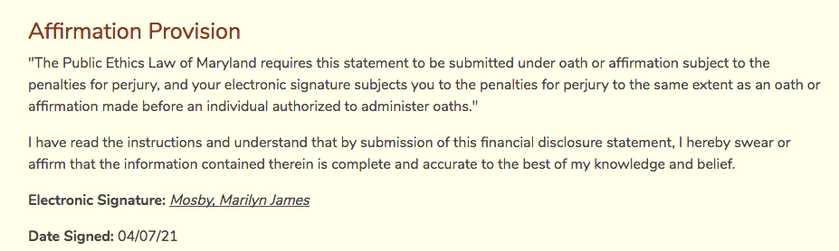 Marilyn Mosby signed this statement today as part of her amended financial disclosure form. (State Ethics Commission)
