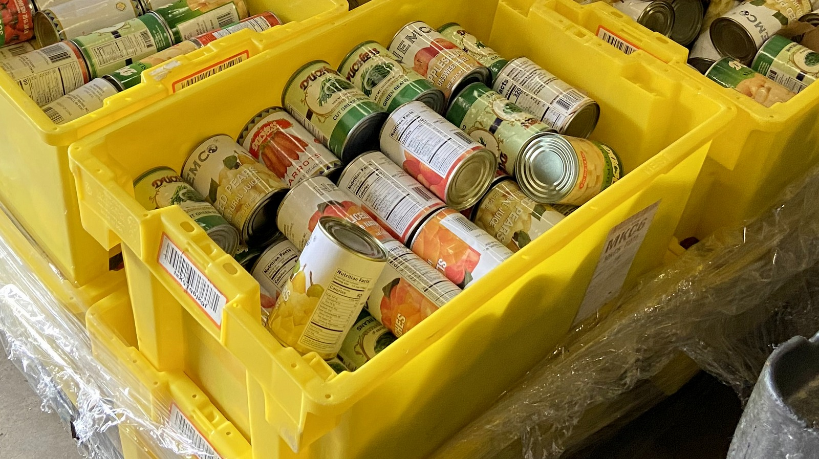 Tomato soup, canned pears and green beans and other non-perishable food, ready for distribution. (Timothy Dashiell)