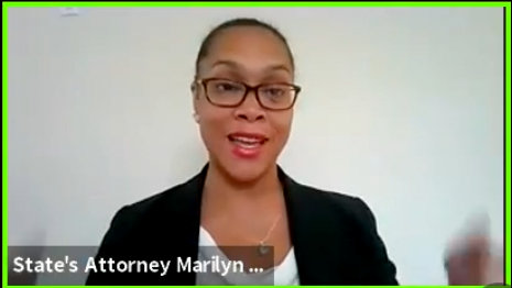 State's Attorney Marilyn Mosby addresses an online meeting of the Baltimore City Delegation.